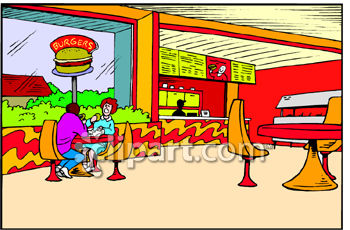 Royalty Free Clip Art Image  Fast Food Restaurant Dining Area Clipart