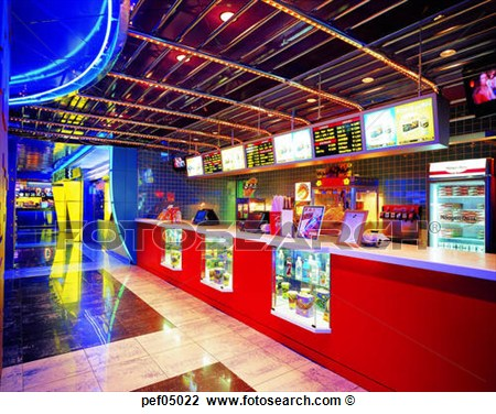 Stock Photo Of Fast Food Restaurant Light Illumination Interior