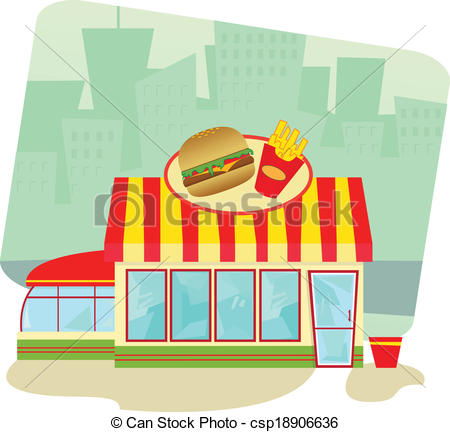 Vectors Of Fast Food Restaurant   Cartoon Illustration Of A Fast Food