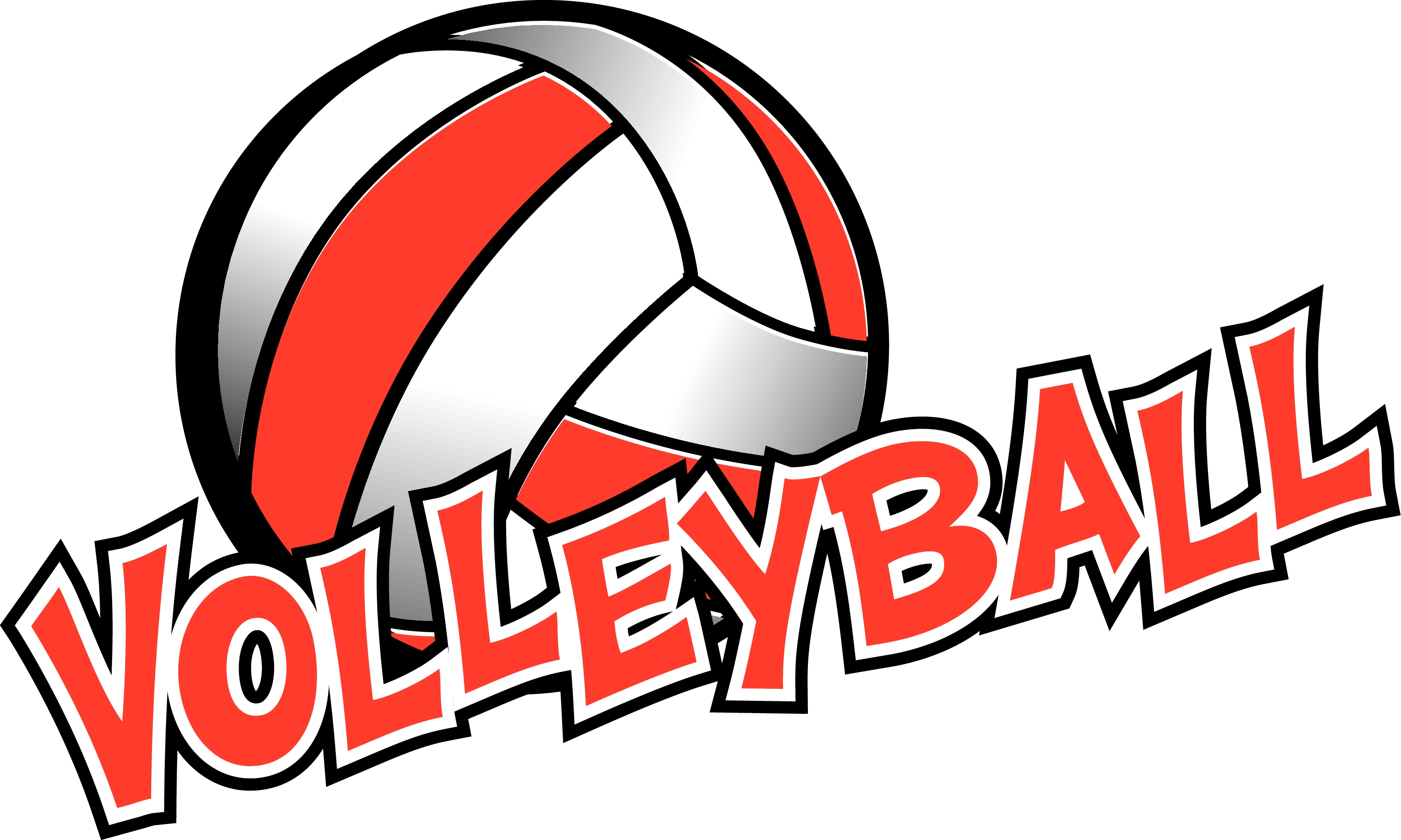 volleyball words volleyball in red and white