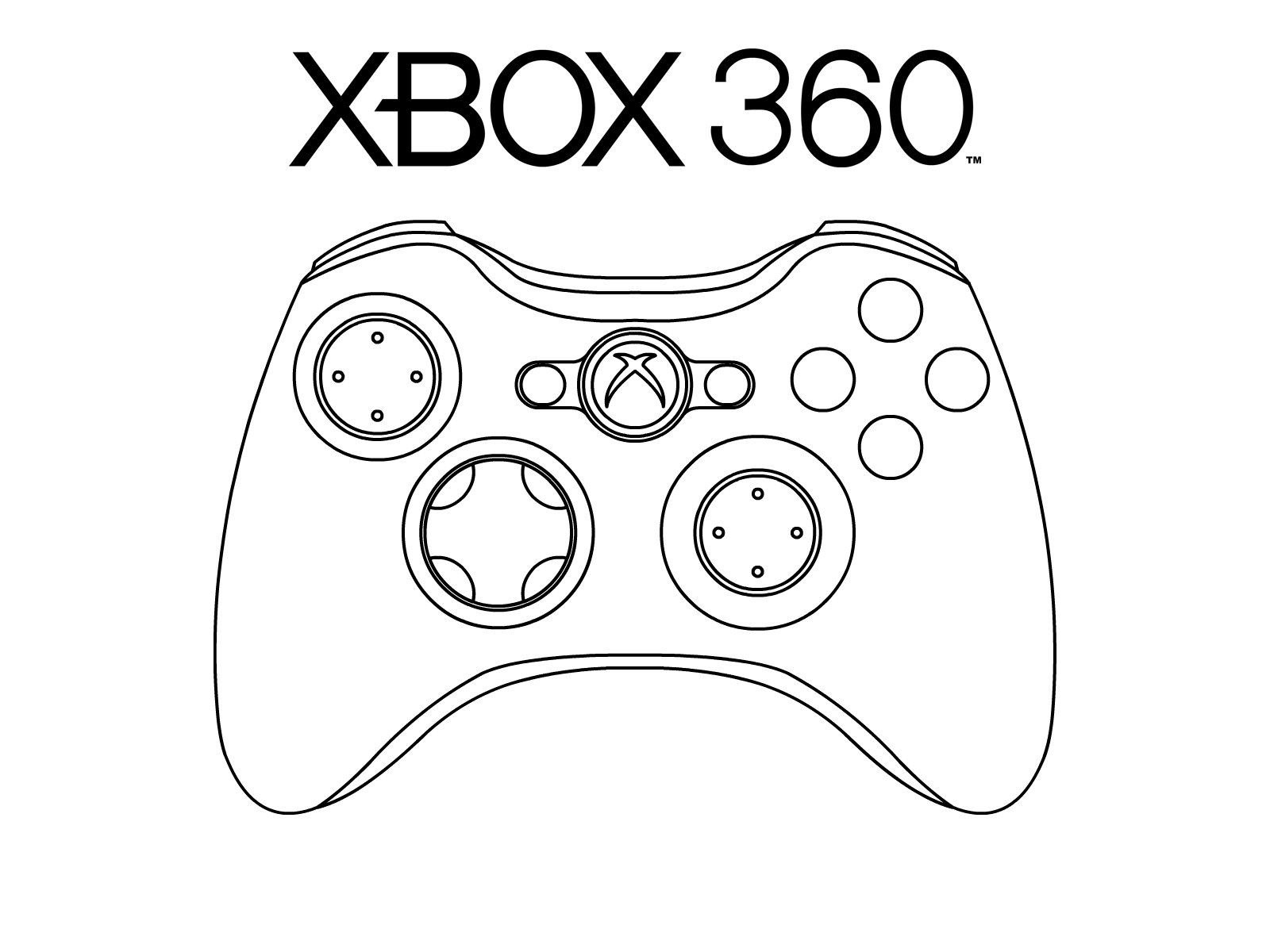 Coloring Pages Xbox 360 : Xbox black and white clipart suggest