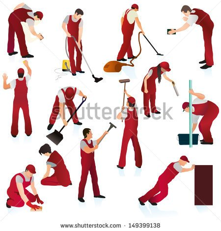 Big Set Of Thirteen Professional Cleaners In The Red Uniform   Stock