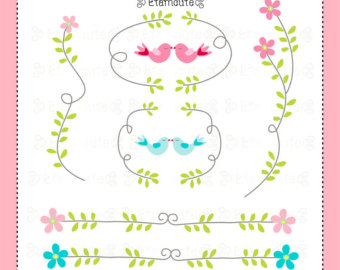 Bird Clip Art And Flower Border Bo Rderinstant Download