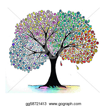 Clip Art   Illustration Of A Four Seasons Tree  Stock Illustration