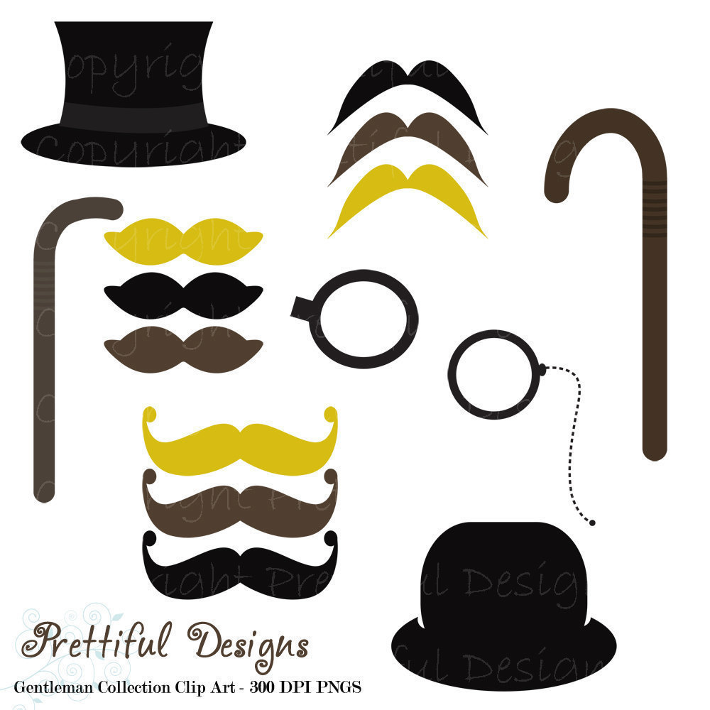 Clip Art Mustache Top Hat Monocle And Cane By Prettifuldesigns
