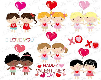 Clipart Clipart Der Kawaii Kinder Happy Valentine S Day  Cg121