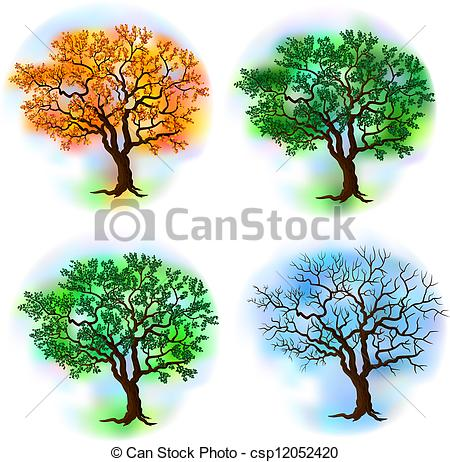 Deciduous Tree In Four Seasons Vector    Csp12052420   Search Clipart