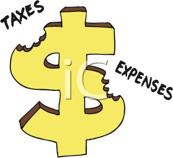 Dollar Sign Being Chewed Up By Taxes And Expenses Clipart Image Jpg