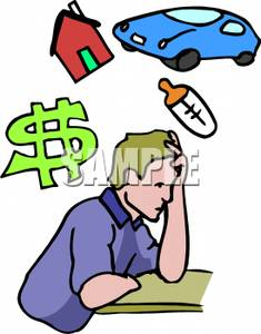 Father Worrying About Family Expenses   Royalty Free Clipart Picture