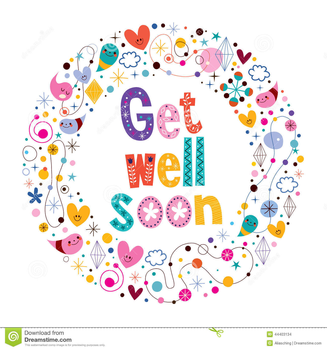Get Well Soon Card Stock Vector   Image  44403134