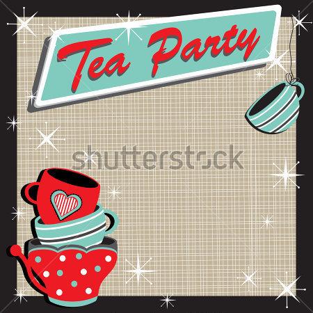 Invitaci N A Fiesta De T  Con Tazas De T  Colorido Apilados En Un
