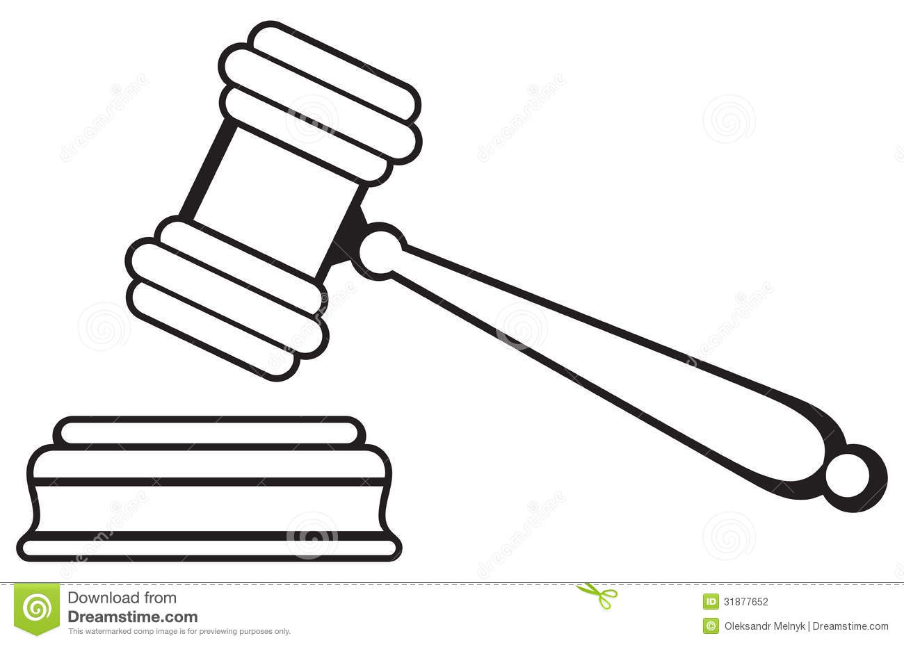 Judge Gavel Isolated On White Background  Silhouette