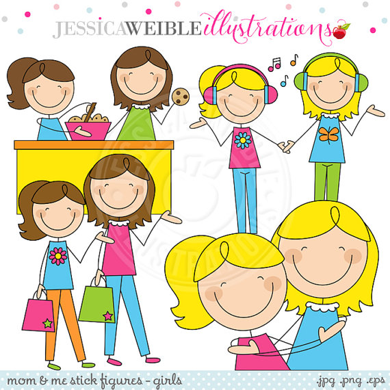Mom And Me Stick Figures Girls V1 Cute Digital Clipart For Invitations