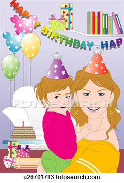 Of Mother And Daughter Celebrating A Party  U26701783   Search Clipart