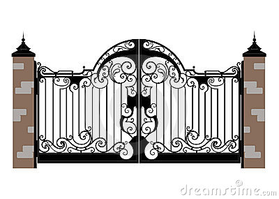 Ornate Smart Forged Iron Gate Accurate Drawing Sketch Of Editable