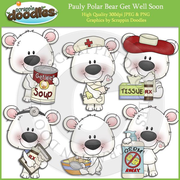 Pauly Polar Bear Get Well Soon Clip Art Download