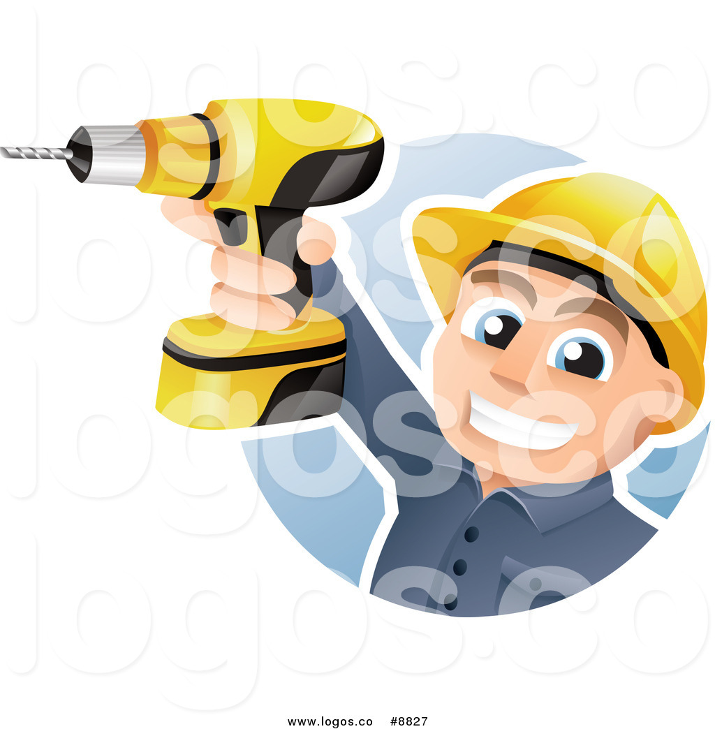Royalty Free Clip Art Vector Happy Construction Worker Holding Up