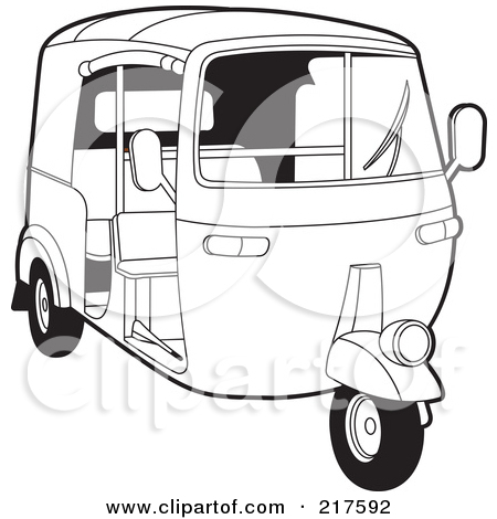 Royalty Free  Rf  Clipart Illustration Of An Outlined 3 Wheeler Tuk