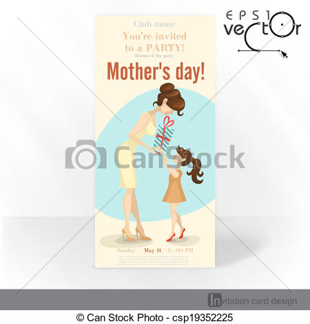 Vector   Little Daughter Gives Mom A Gift For Mother S Day   Stock