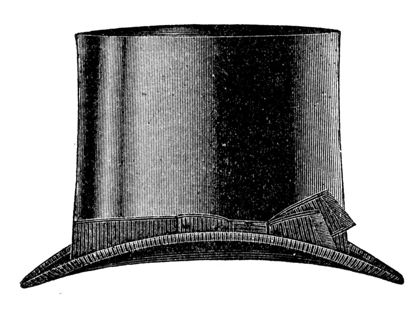 Vintage Clip Art   Men S Hats   Derby   Top Hat   The Graphics Fairy