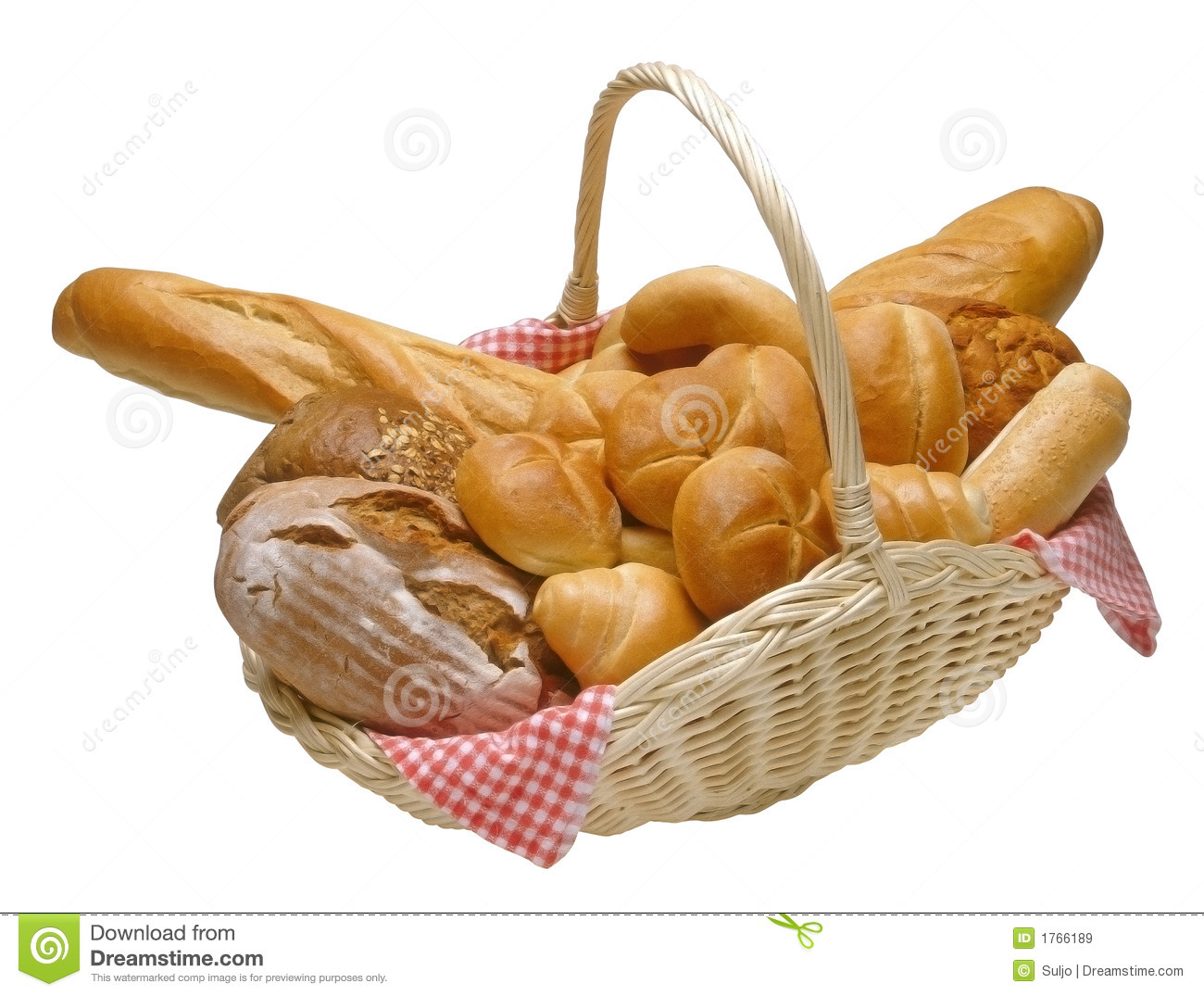 Breads And Rolls In A Wicker Basket Isolated With Clipping Path