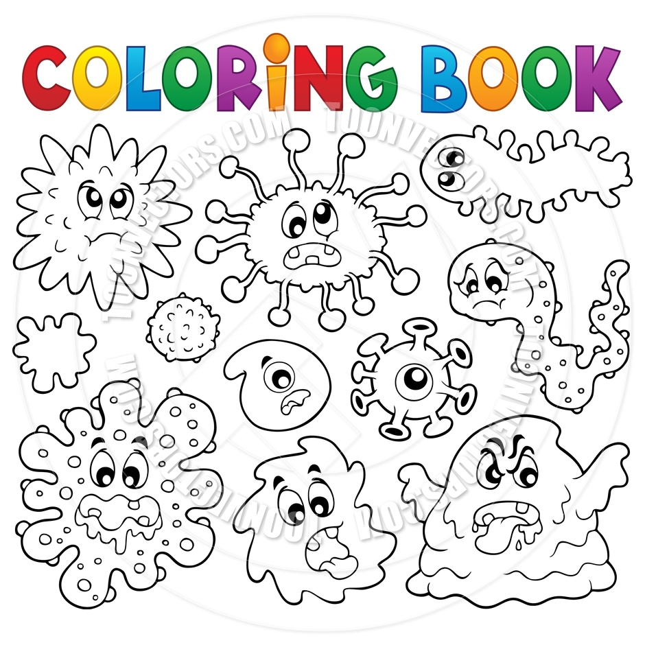 Cartoon Coloring Book Germs Theme By Clairev   Toon Vectors Eps  97844