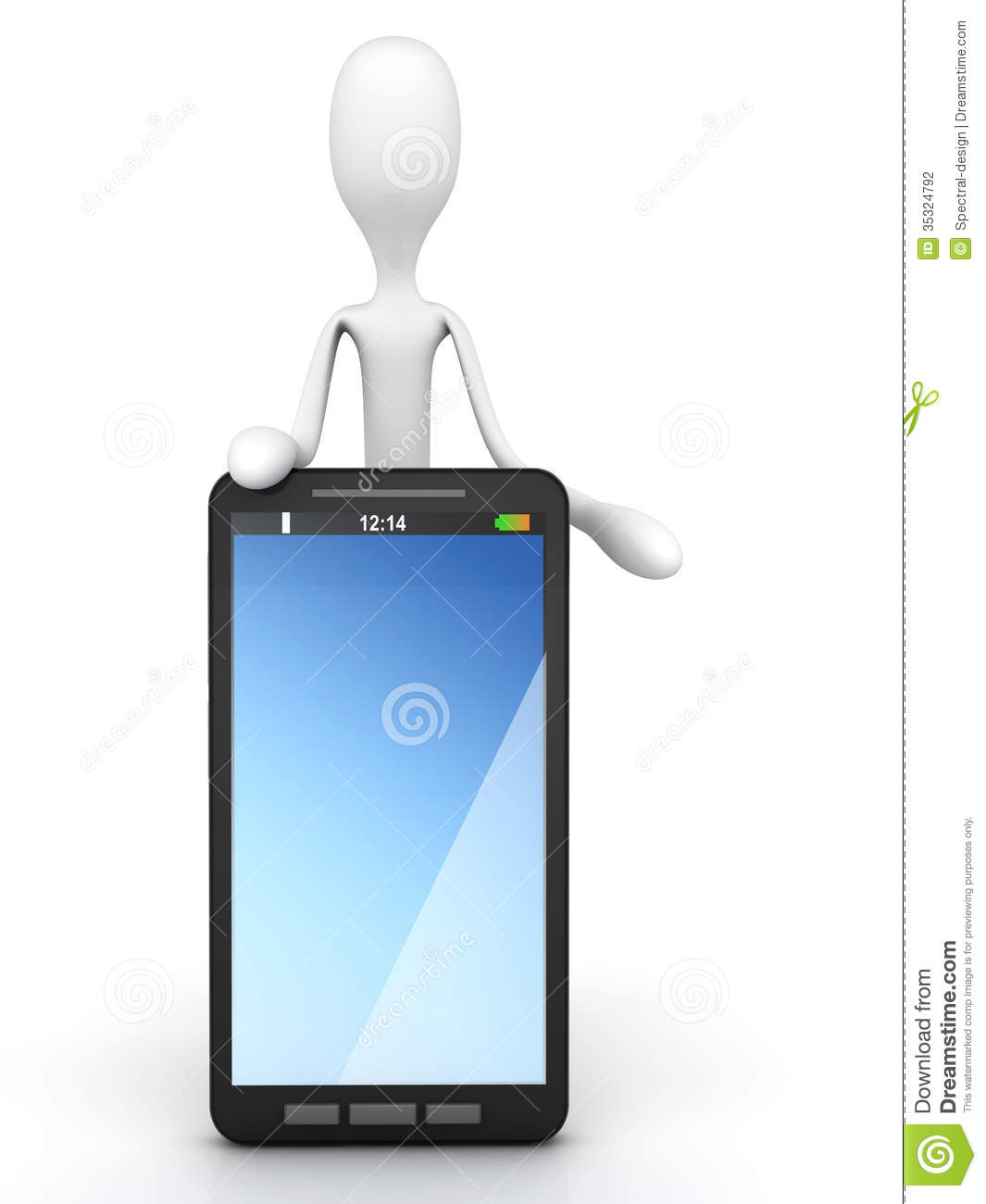 Cartoon Guy With A Smartphone Stock Photography   Image  35324792