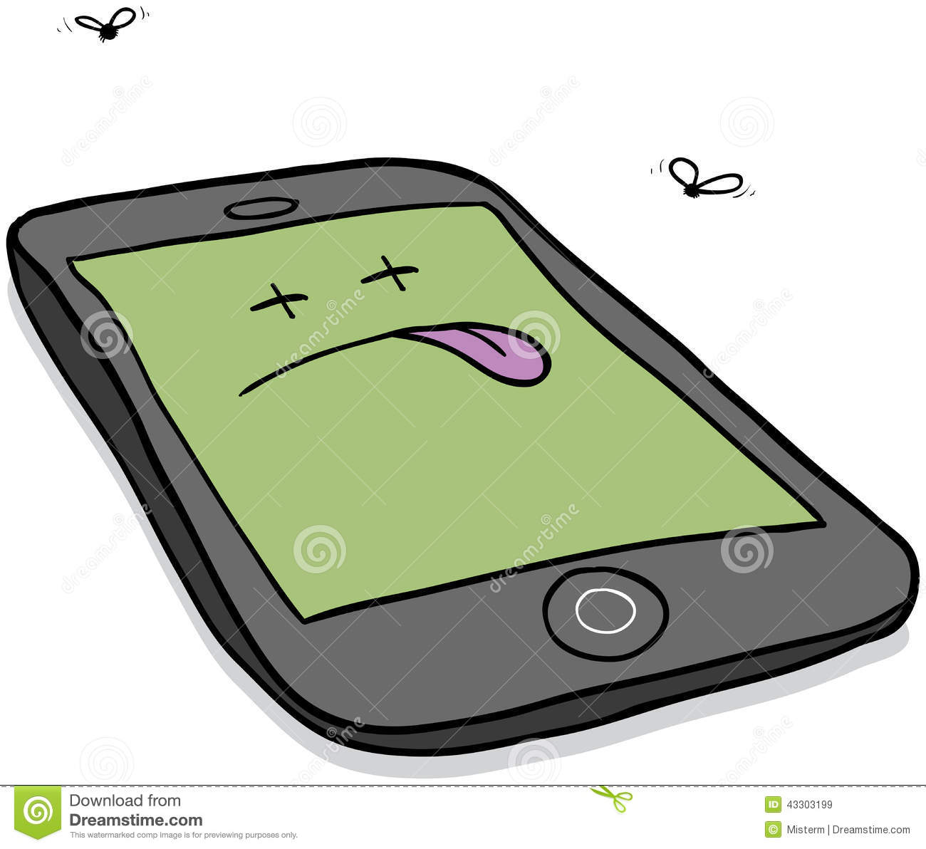 Cartoon Illustration Of A Deceased Smartphone In Need Of Repair Or