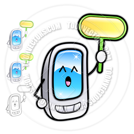 Cartoon Smartphone Mascot Holding A Sign By Boians Cho Joo Young