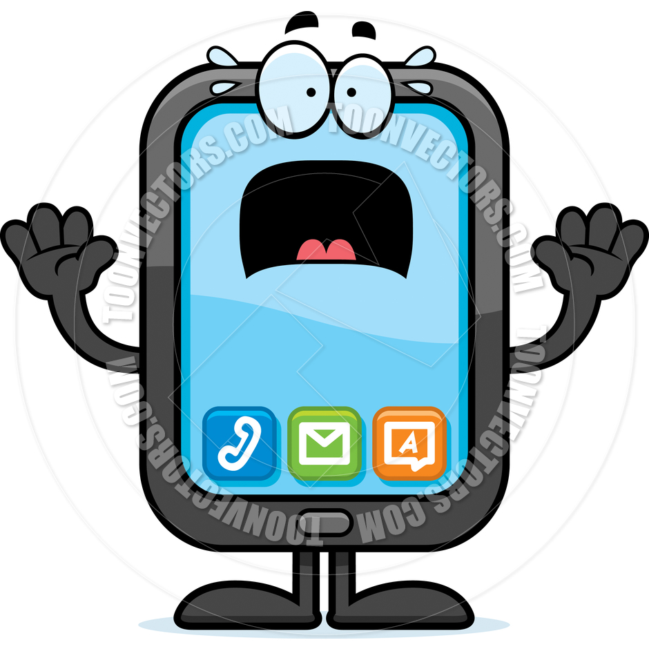 Cartoon Smartphone Scared By Cory Thoman   Toon Vectors Eps  43339