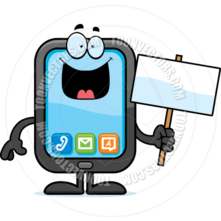 Cartoon Smartphone Sign By Cory Thoman   Toon Vectors Eps  43345