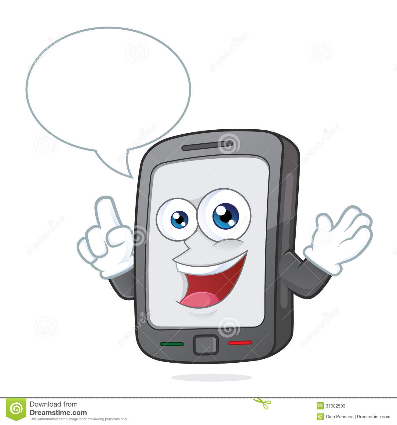 Clipart Picture Of A Smartphone Cartoon Character Talking With Speech