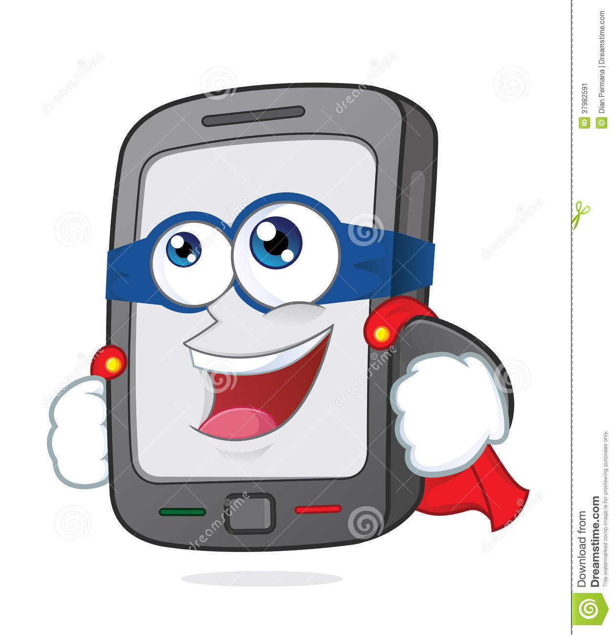 Clipart Picture Of A Super Smartphone Cartoon Character
