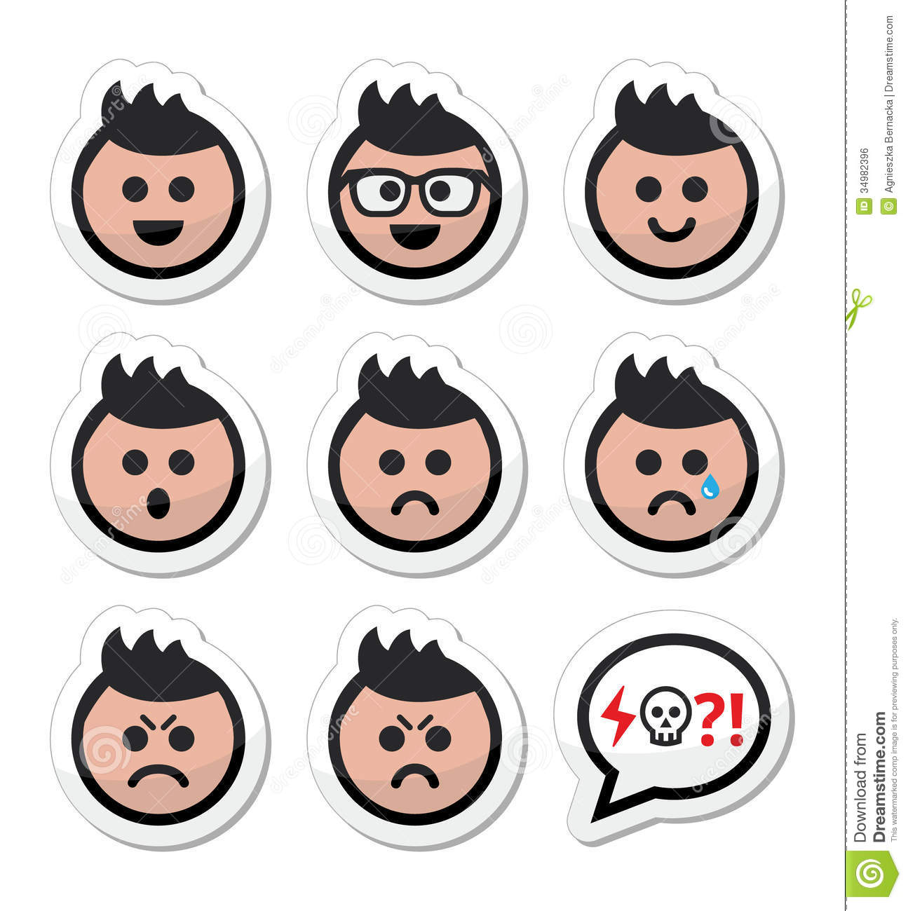 Collection Of Avatar Faces   Happy Sad Angry Crying Isolated On