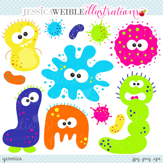 Cute Digital Clipart   Commercial Use Ok   Microbiology Clipart