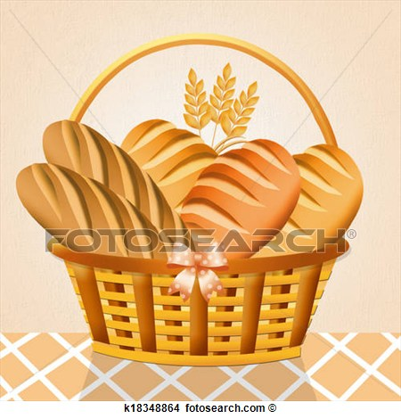 Drawing   Bread In The Basket  Fotosearch   Search Clip Art