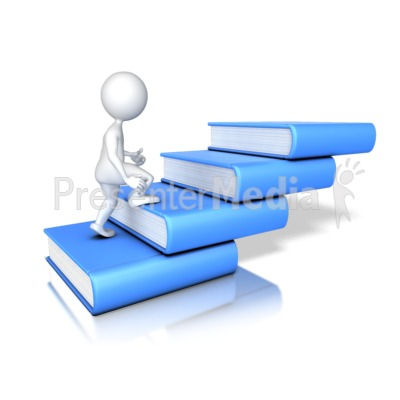 Figure Walking Up Four Books   Presentation Clipart   Great Clipart