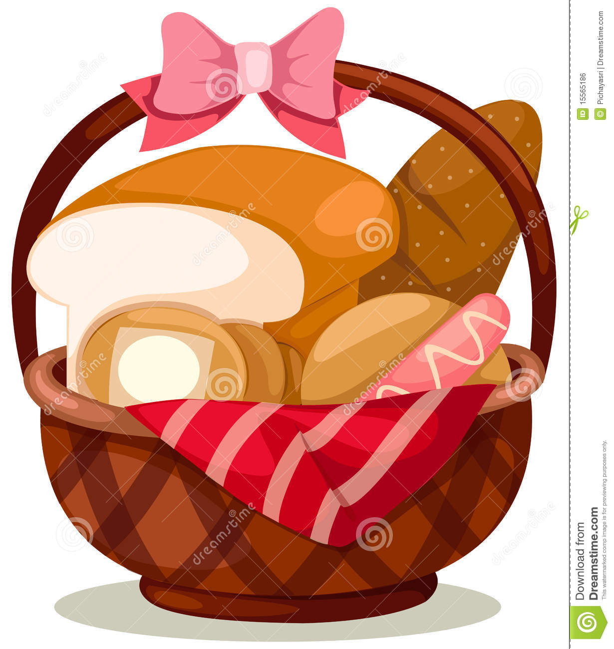 Illustration Of Isolated Basket Of Bread On White Background
