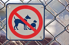 No Cats Dogs Permitted Allowed Sign On Fence Royalty Free Stock