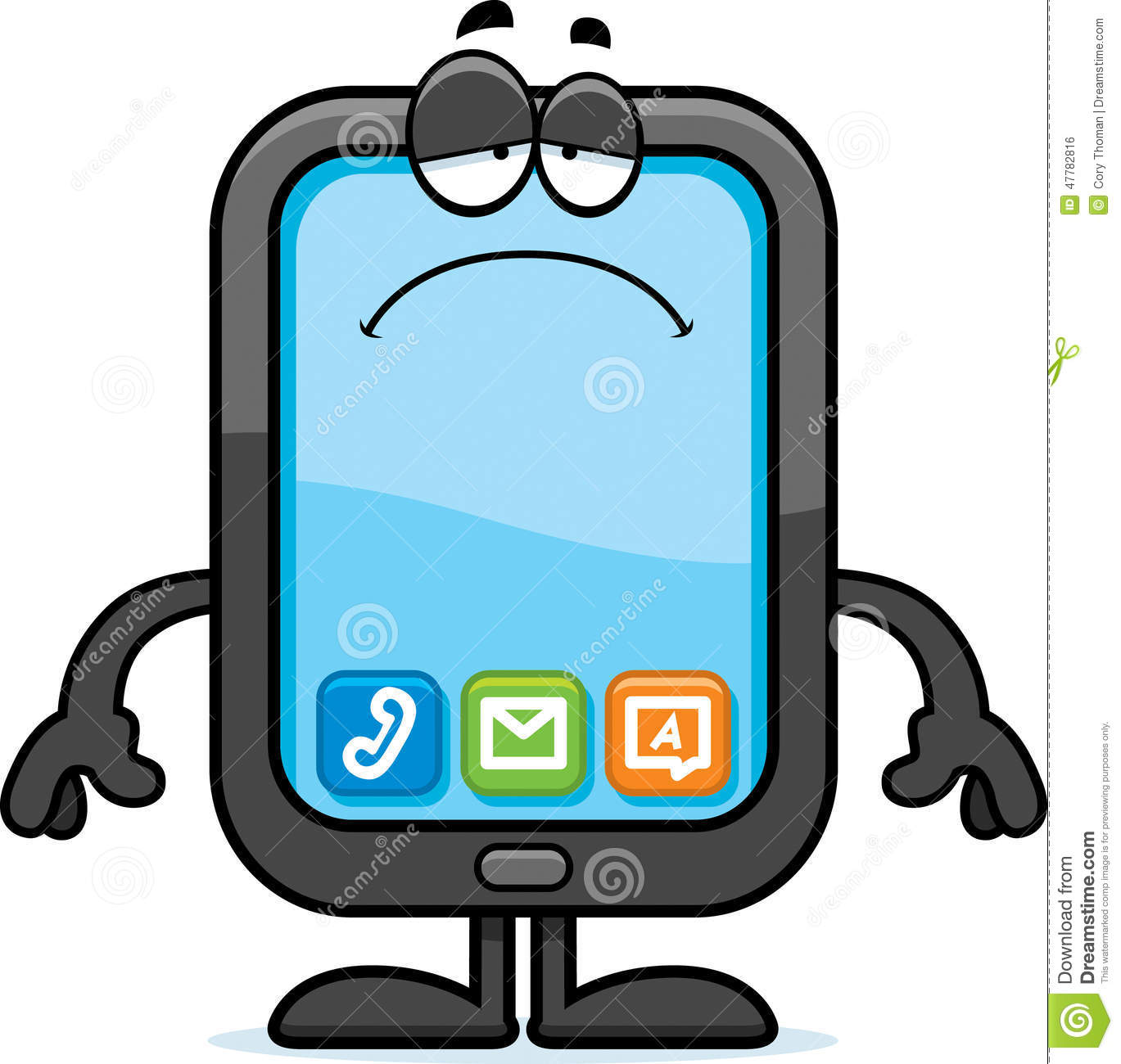 Sad Cartoon Smartphone Stock Illustration   Image  47782816