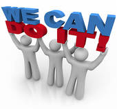 We Can Do It Team People Work Together Lifting Words  Clip