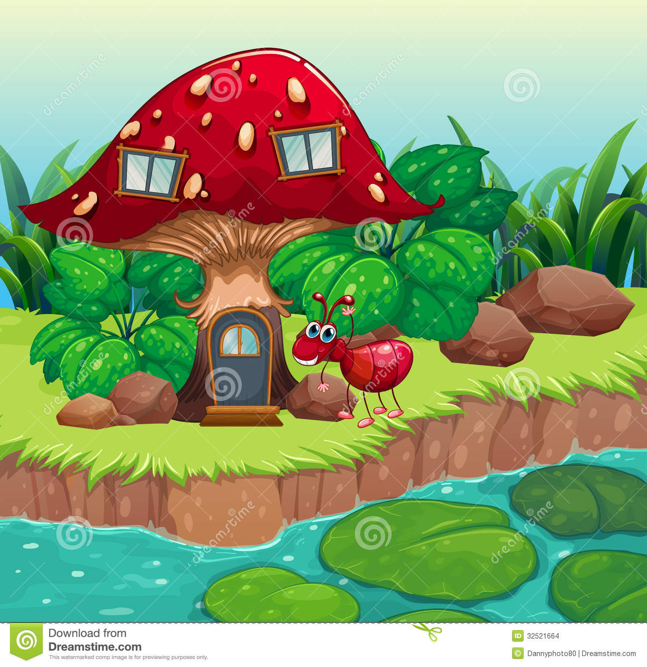 An Ant Near The Red Mushroom House Stock Images   Image  32521664