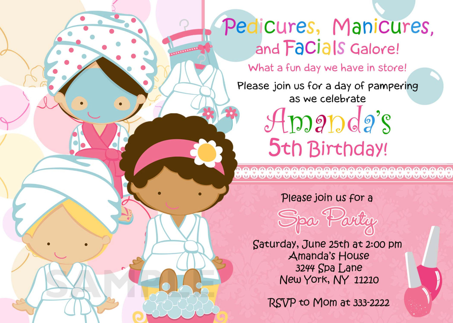 Birthday Invitation Personalized Spa Mani Pedi By Theprintfairy