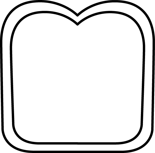 Black And White Slice Of Bread   Clip Art Image Of A Black And White