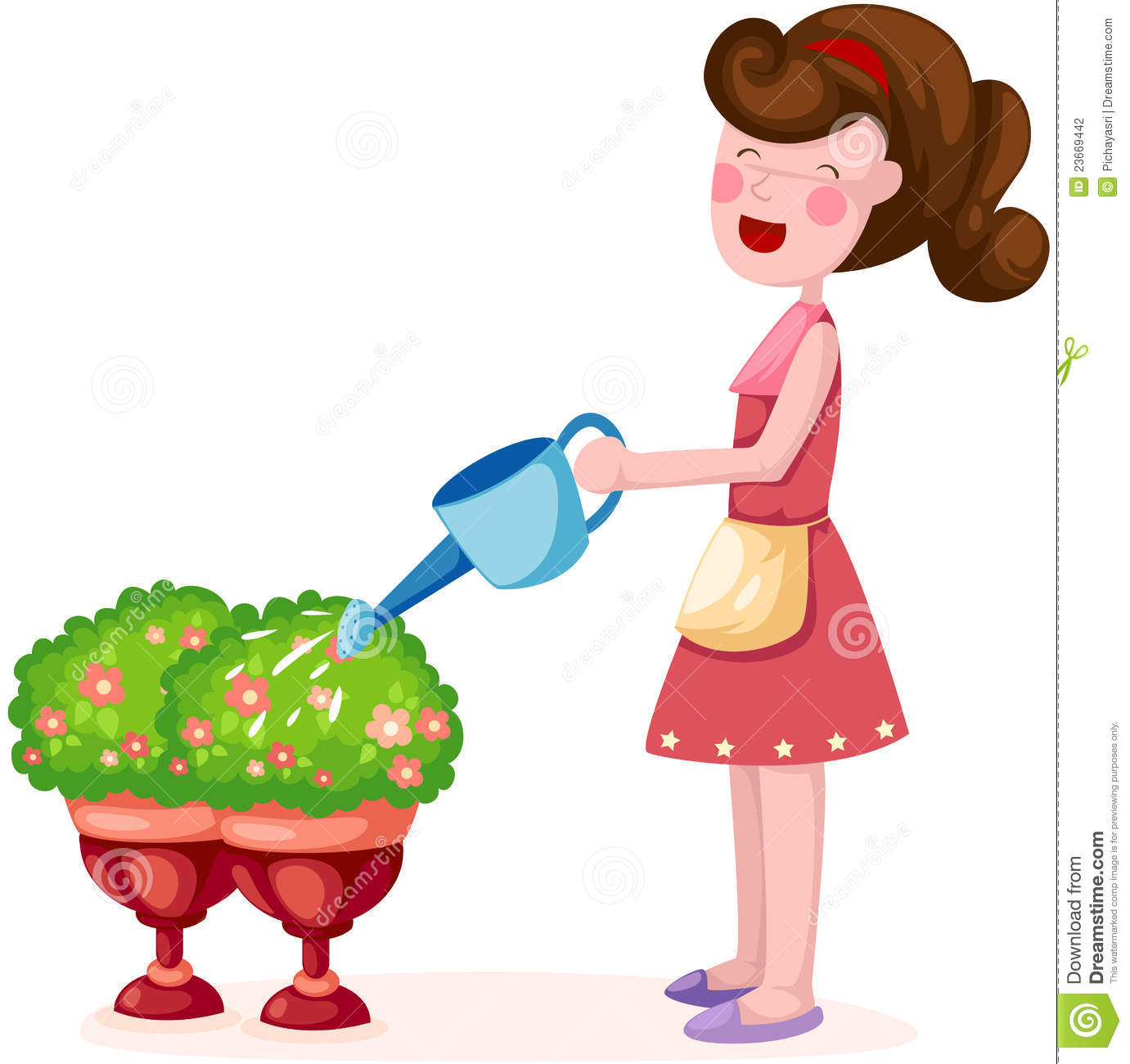 Child Growing Clipart Girl Watering Plant