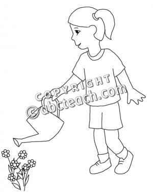 Clip Art  Child Watering Flowers  B W    Spring   Child Activity
