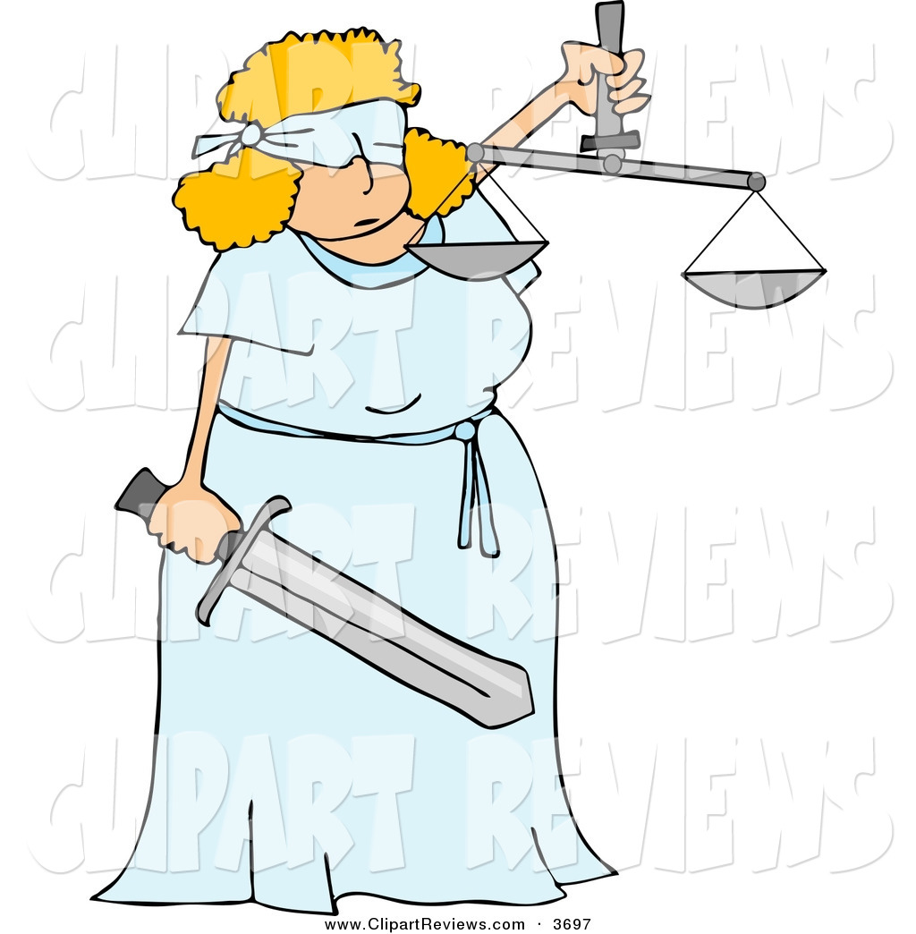 Clip Art Of A Blind Justice Concept With Scales And A Sword By Djart