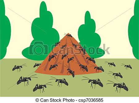 Clipart Vector Of Ant Hill In Wood The Big Ant Hill Csp7036585
