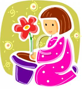 Girl Planting Flower In Pot Royalty Free Clipart Picture