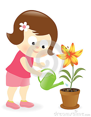 Girl Watering Lily Flower Stock Photos   Image  30331973